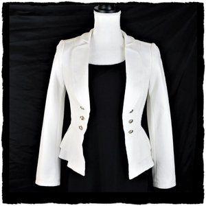 NWT White House Black Market White Ponte Jacket 00